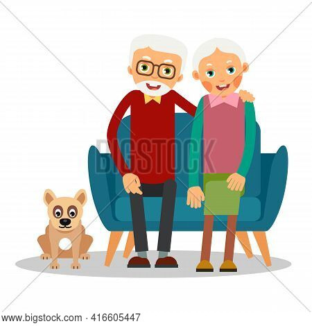On The Sofa Sit Elderly Woman And Man. Nearby On The Floor Sits A Dog. Family Portrait Of Elderly Wi
