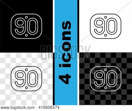 Set Line 90s Retro Icon Isolated On Black And White, Transparent Background. Nineties Poster. Vector