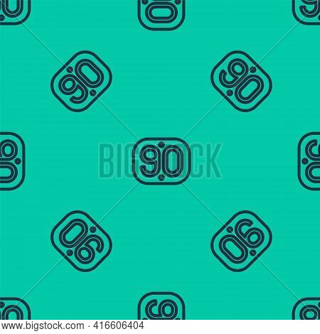 Blue Line 90s Retro Icon Isolated Seamless Pattern On Green Background. Nineties Poster. Vector