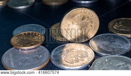 Coin 10 Rubles Is Lies Between Other Rubles