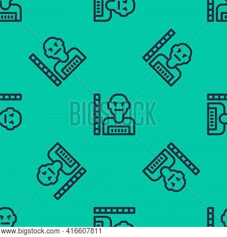 Blue Line Suspect Criminal Icon Isolated Seamless Pattern On Green Background. The Criminal In Priso