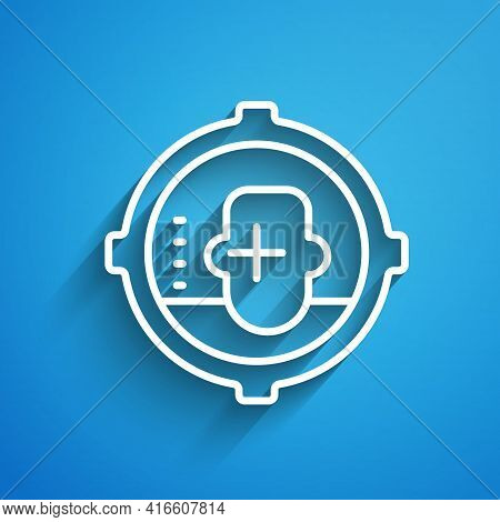 White Line Headshot Icon Isolated On Blue Background. Sniper And Marksman Is Shooting On The Head Of