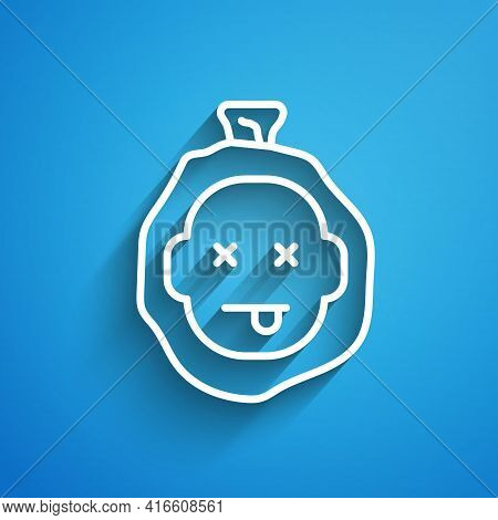 White Line Murder Icon Isolated On Blue Background. Body, Bleeding, Corpse, Bleeding Icon. Dead Head