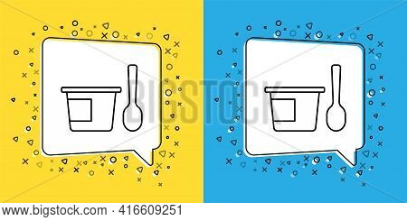 Set Line Yogurt Container With Spoon Icon Isolated On Yellow And Blue Background. Yogurt In Plastic