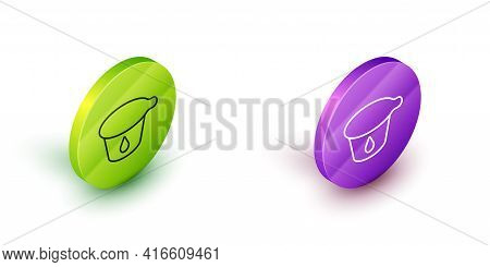 Isometric Line Yogurt Container Icon Isolated On White Background. Yogurt In Plastic Cup. Green And