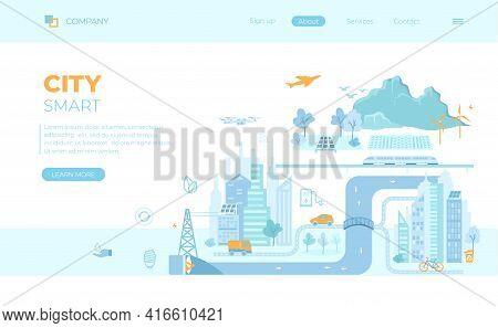 Smart Green City. Infographic Elements. Infrastructure, Transportation, Services, Communication,ener
