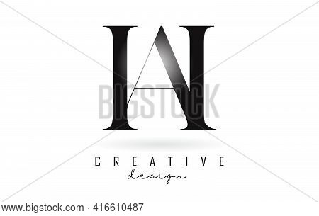 Ah A H Letter Design Logo Logotype Concept With Serif Font And Elegant Style. Vector Illustration Ic