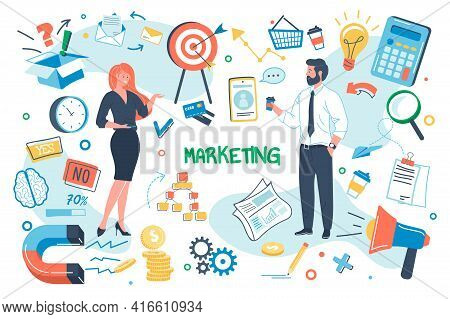 Marketing Concept Isolated Elements Set. Bundle Of Marketers Team, Targeting, Development Strategy,