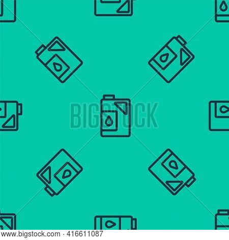 Blue Line Canister For Motor Machine Oil Icon Isolated Seamless Pattern On Green Background. Oil Gal