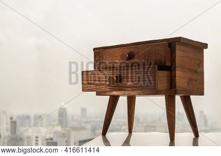 Teak Bedside Table. Modern Designer Nightstand, Cabinet With Two Drawers, House Room Interior, Selec