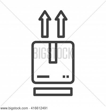 Outgoing Parcel Icon. A Simple Linear Image Of A Parcel And Arrows Up Above It. Isolated Vector On P