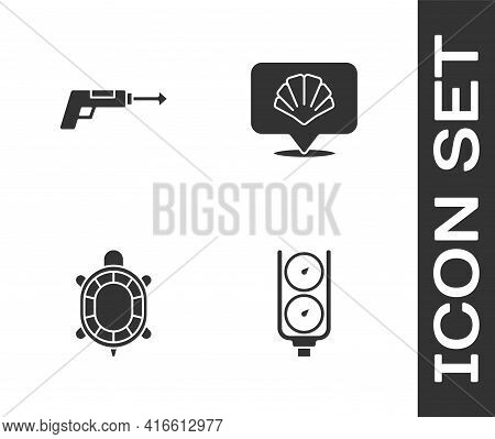 Set Gauge Scale, Fishing Harpoon, Turtle And Scallop Sea Shell Icon. Vector