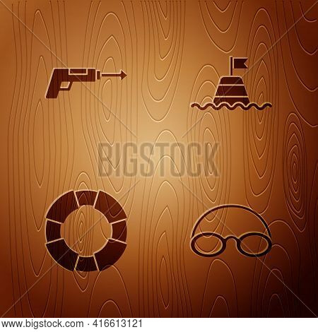 Set Glasses And Cap, Fishing Harpoon, Lifebuoy And Floating The Sea On Wooden Background. Vector