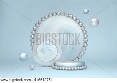 Minimal 3d Scene With Geometric Forms. Stylish Marble Podium With Pearl On Blue Pastel Background. S