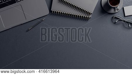 Black Table Background With Black Notebbok, Laptop And Tea Cup And Copyspace For Your Text, 3d Rende