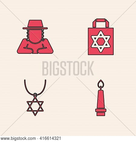 Set Burning Candle, Orthodox Jewish Hat, Shopping Bag With Star Of David And Star David Necklace On