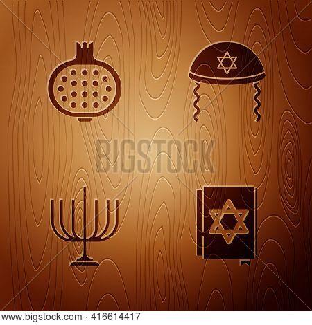 Set Jewish Torah Book, Pomegranate, Hanukkah Menorah And Kippah On Wooden Background. Vector