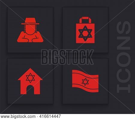 Set Flag Of Israel, Orthodox Jewish Hat, Shopping Bag With Star David And Jewish Synagogue Icon. Vec