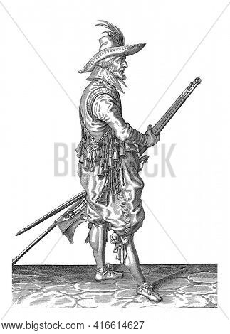 A Soldier, Full Length, to the right, holding a musket (a particular type of firearm) with his left thigh with both hands, Plate 22 in the instructions for handling the musket, vintage engraving.