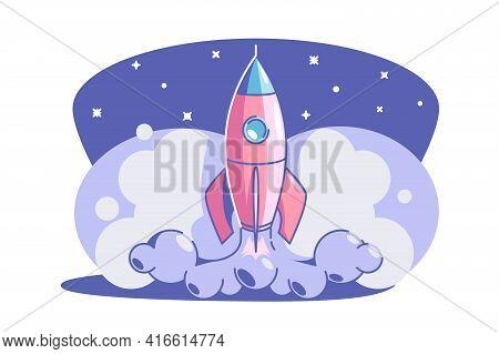 Start Up Symbol Vector Illustration. Rocket Launch