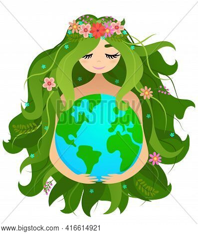 Happy Mother Earth Day  - Vector Planet Earth And Beautiful Mother Drawing With Flower Wreath. Lette