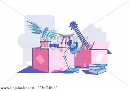 Carton Boxes And Stuff Vector Illustration. Lamp