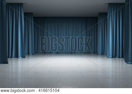 Empty Gallery, Stage With Blue Curtains, Concrete Floor And Ceiling, Illuminated Artificially, Front