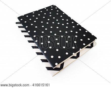 Design Notepads Isolated On White Background. Aerial View Of Two Closed Cardboard Covered Notebooks.