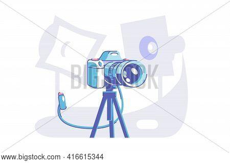 Preparation For Professional Photoshoot Vector Illustration. Camera