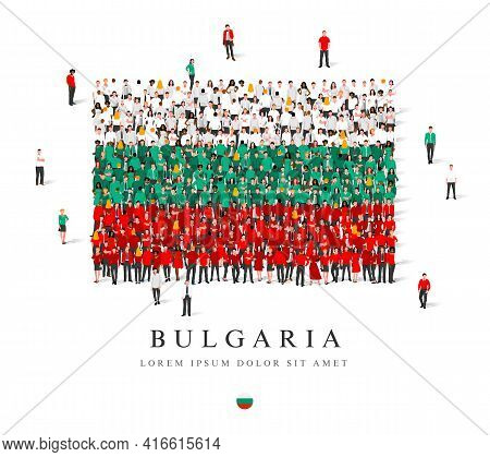 A Large Group Of People Are Standing In White, Green And Red Robes, Symbolizing The Flag Of Bulgaria