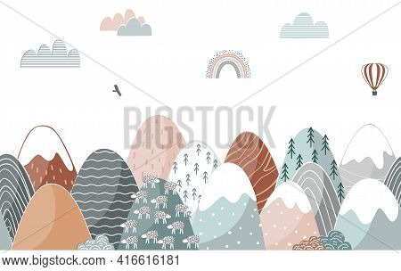 Seamless Pattern With Doodle Mountains In Scandinavian Style. Decorative Landscape Border Background