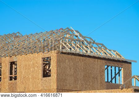 Wall And Rafters Of A Plywood House New Workplank Frame
