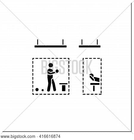 Quarantine Sports Glyph Icon. Gym And Fitness Studio Social Distancing. Concept Of Safe Exercising A