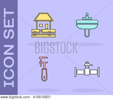 Set Industry Pipe And Valve, Water Supply Pipes, Pipe Adjustable Wrench And Washbasin Icon. Vector