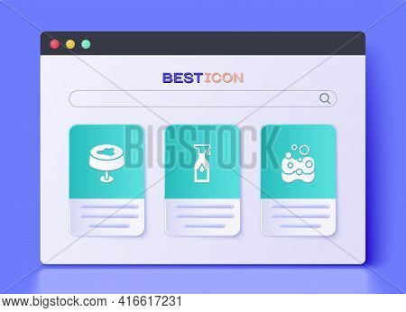 Set Cleaning Spray Bottle, Stain On The Tablecloth And Sponge Icon. Vector