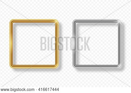 Set Of Gold And Silver Square Frame On Transparent Background With Shadow. Golden And Silver 3d Real