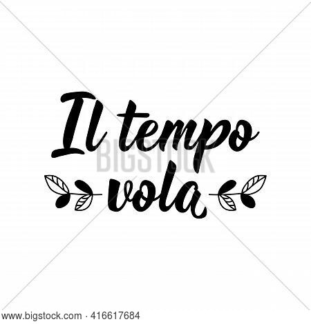 Il Tempo Vola. Translation From Italian: Time Flies. Lettering. Ink Illustration. Modern Brush Calli