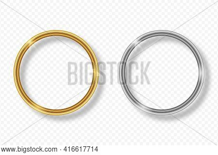 Set Of Gold And Silver Round Frame On Transparent Background With Shadow. Golden And Silver 3d Reali