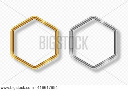 Set Of Gold And Silver Hexagonal Frame On Transparent Background With Shadow. Golden And Silver 3d R
