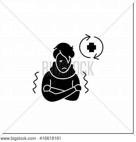 Ill Person Glyph Icon.covid Reinfected Or Re-ill Person Suffering Shivers And High Fever.covid Disea