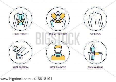 Orthopedics Line Color Icons Set. Rehabilitation After Injuries. Isolated Vector Element