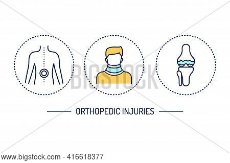 Orthopedic Injuries Line Color Icons Set. Rehabilitation After Injuries. Isolated Vector Element.
