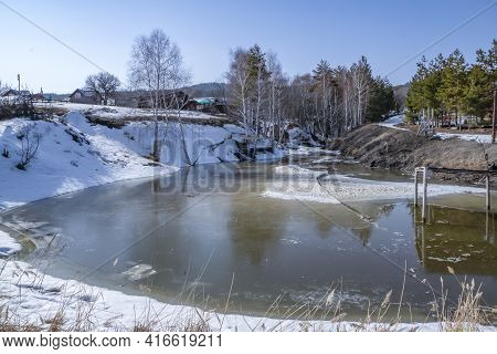 Spring Landscape, A Walk On A Clear, Clear, Sunny Day To A Small Lake