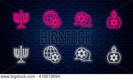 Set Line World Globe And Israel, Star Of David, Hanukkah Menorah And Burning Candle. Glowing Neon Ic