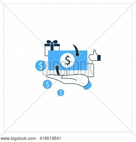 Cash Payment Flat Icon. Hand Hold Money. Cash Deposits Only.universal Basic Income Concept. Vector I