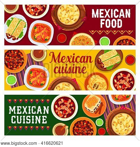 Mexican Cuisine Food Banners Vector Chicken Wings, Beef Bean Stew And Chilli Con Carne. Tacos De Pat