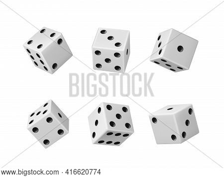 Gambling Game Dice Realistic Vector Set Of Casino Craps, Poker And Tabletop Board Games Isolated Whi