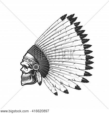 Indian Chief Skull Tattoo, American Native Warrior Head In Feather Headdress Hat. Native American In
