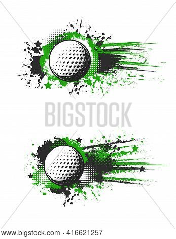 Golf Banner, Golf Ball Splash, Sport Championship And Tournament, Vector Background. Golf Sport Leag