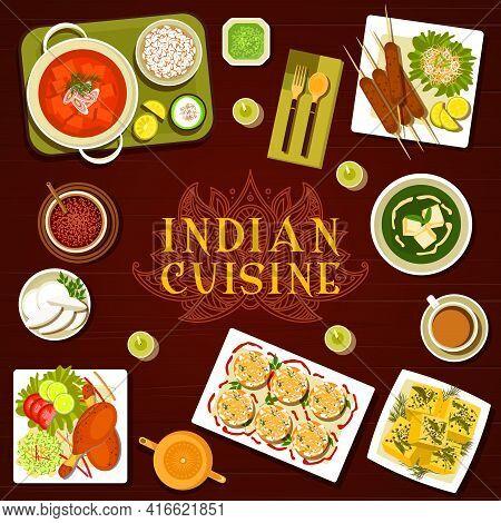 Indian Cuisine Food Menu Meals And Dishes Menu Vector Cover. Lamb Kebab, Palak Paneer Spinach Soup A